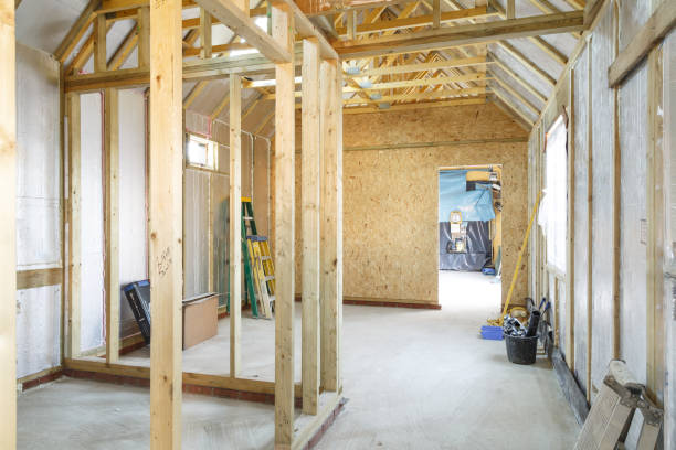 Timber frame house construction stock photo