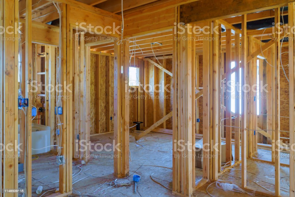Timber Frame House Stick Built Home Under Construction With