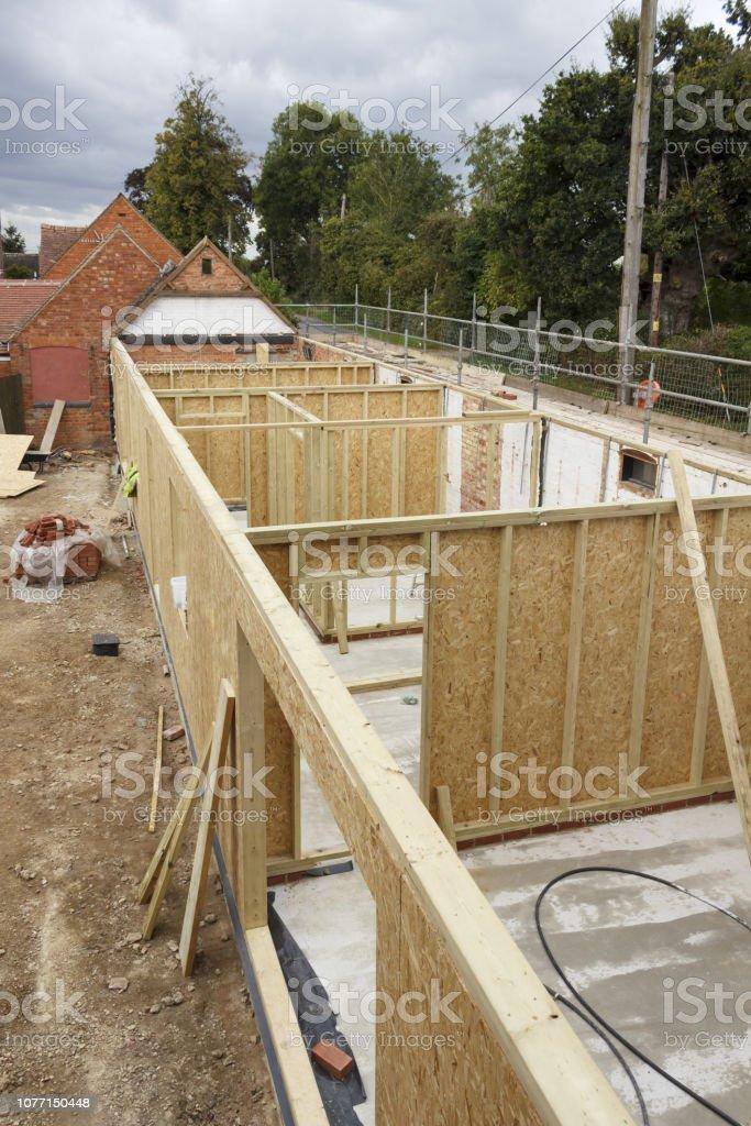 Construction mur à ossature bois - Photo