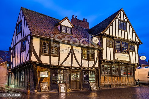 Timber framed restaurant Gert and Henry's. The building is from the 1600's located in the downtown market area, York, England, UK.