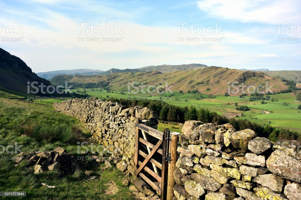 Timber gate in the Dry stone wall stock photo