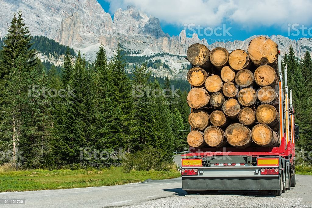 Timber Lumber Truck Delivery stock photo