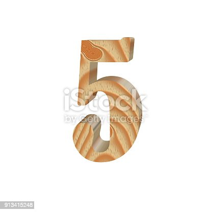 istock Timber number five isolated on white background.Volumetric eco friendly alphabet design. 3d illustration 913415248