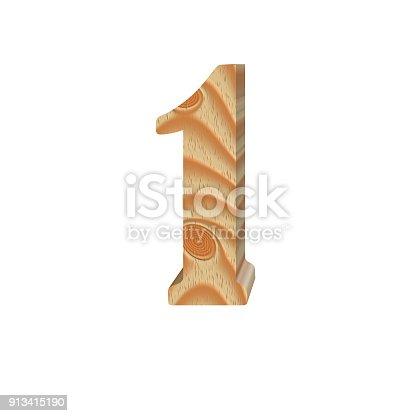 845307368 istock photo Timber number one isolated on white background.Volumetric eco friendly alphabet design. 3d illustration 913415190