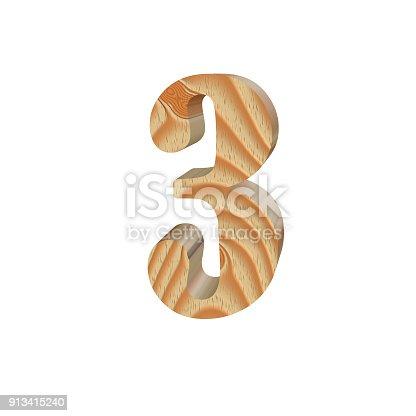 istock Timber number three isolated on white background.Volumetric eco friendly alphabet design. 3d illustration 913415240