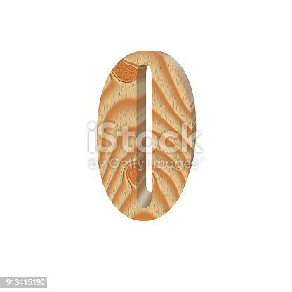 istock Timber number zero isolated on white background.Volumetric eco friendly alphabet design. 3d illustration 913415192