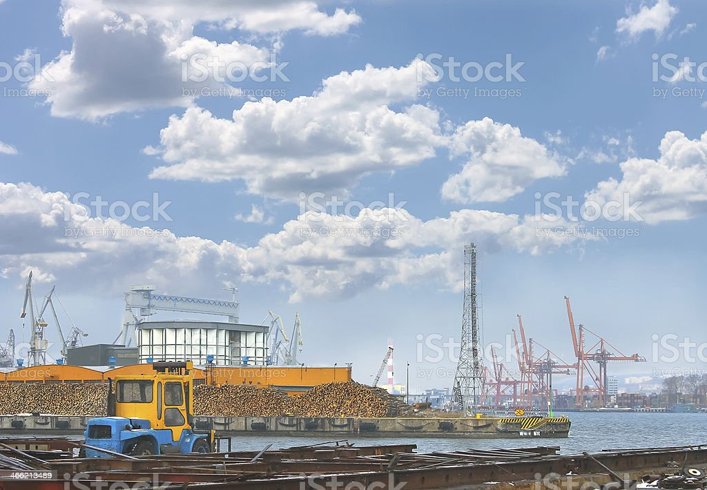 Timber on  pier in the port royalty-free stock photo