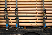 timber, plank, stack, belt, semi-truck