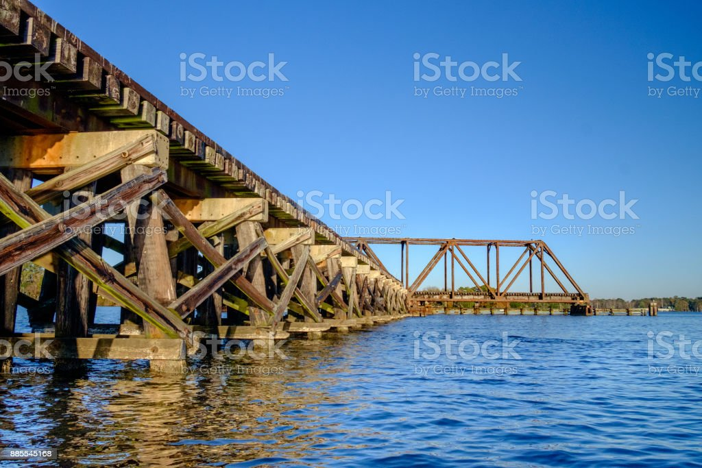 Timber Trestle with Swing Bridge stock photo