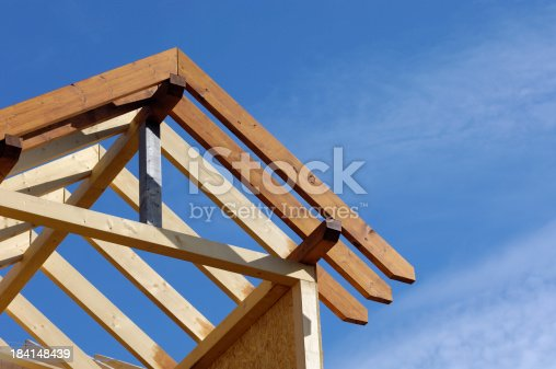 Part of a roof under construction.