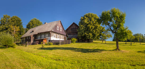 timbered cottage - czech traditional wooden timbered house stock photo