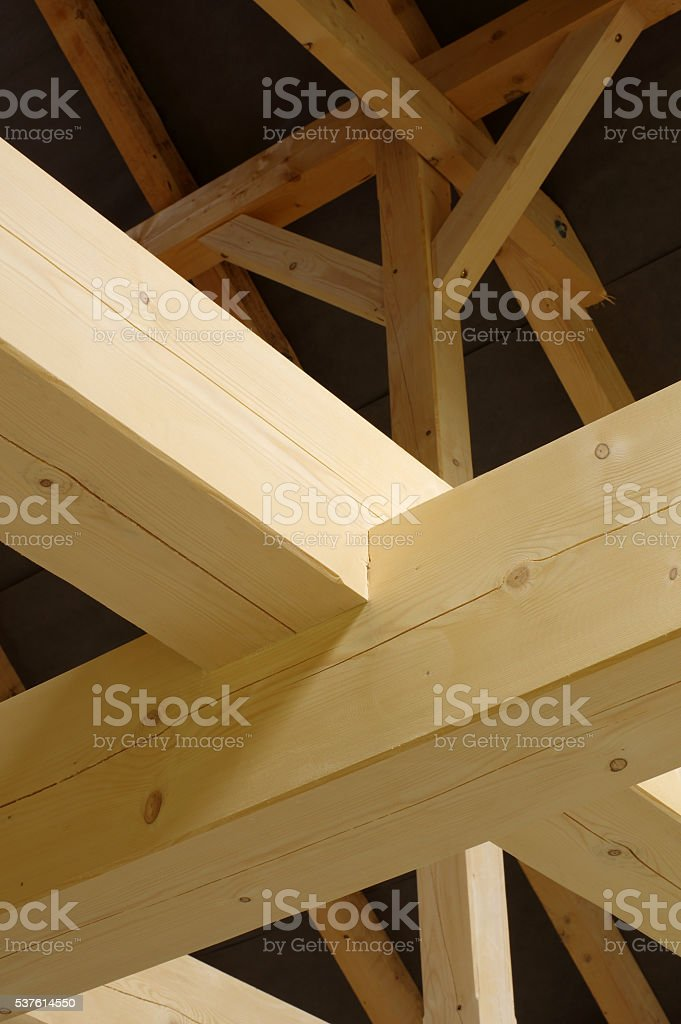 timbered house interior detail stock photo