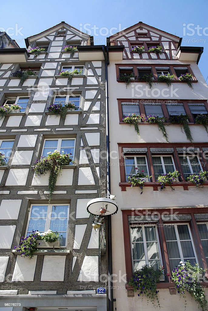 Timber-framed architecture, old houses in europe royalty-free stock photo