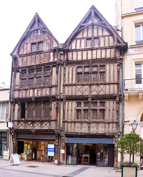 timber-framed houses - caen stock pictures, royalty-free photos & images