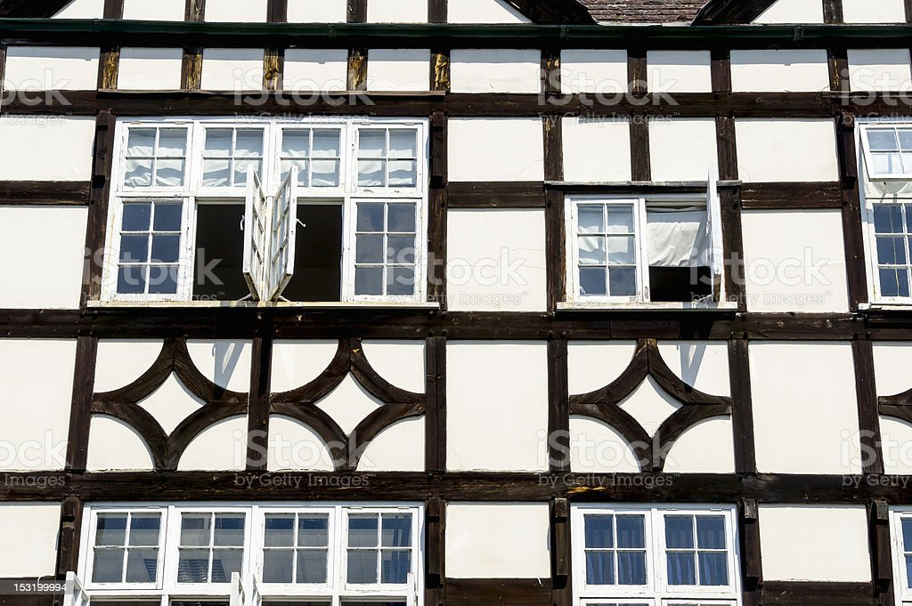 Timber-framed medieval house stock photo