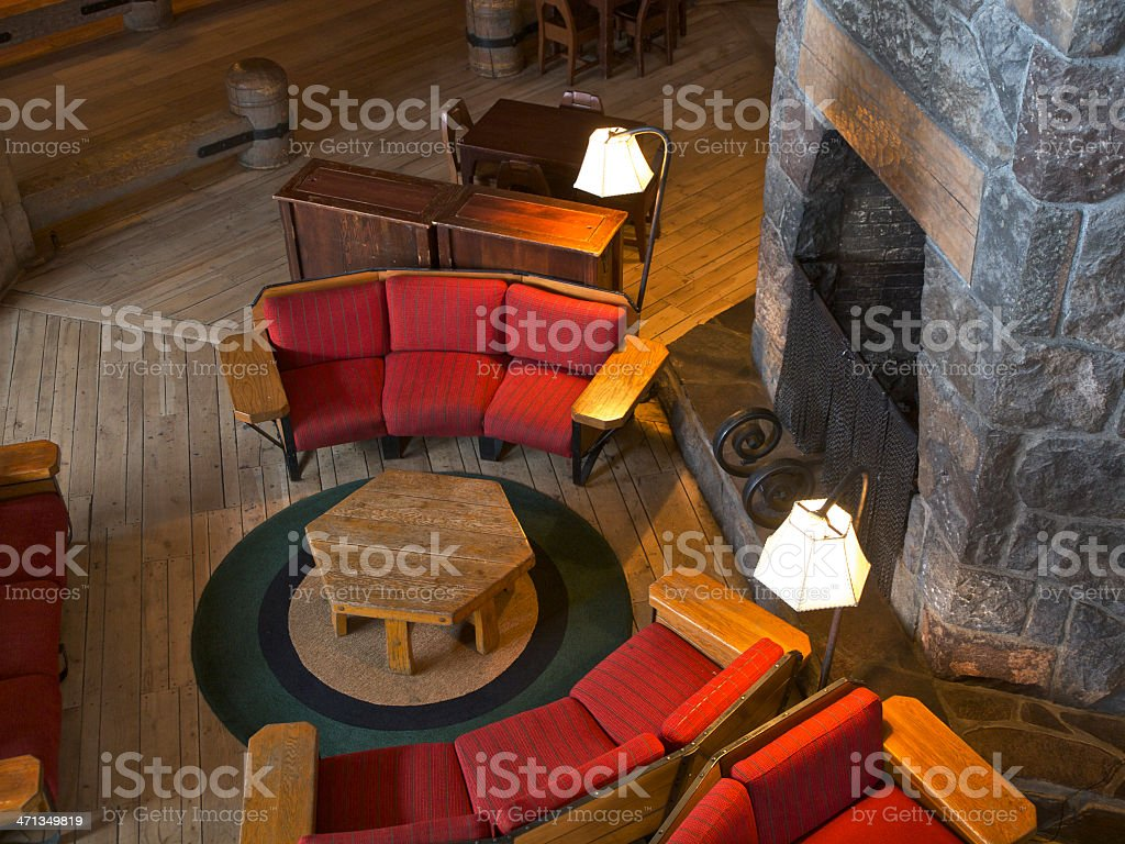 Timberline Lodge Interior with Chairs on Mount Hood in Oregon stock photo