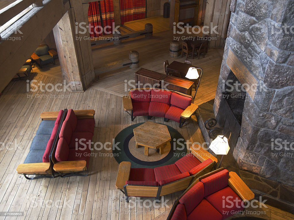 Timberline Lodge with Interior Chairs by Fireplace Mount Hood Oregon stock photo
