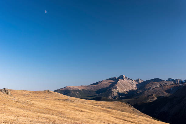 Timberline view of Longs Peak, located within Rocky Mountain National Park, Colorado. stock photo