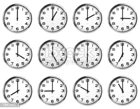 istock time 12 clocks - clipping path 134729929