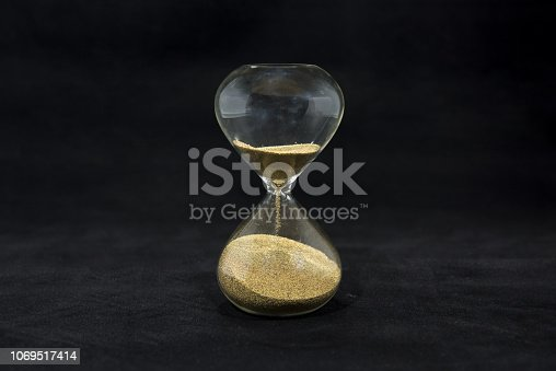 816405814 istock photo Time abstraction. Hourglass isolated on black background. 1069517414