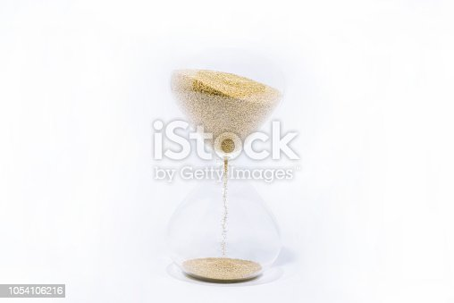 istock Time abstraction. Hourglass isolated on white background. 1054106216