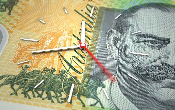 Time and Australian Dollar stock photo