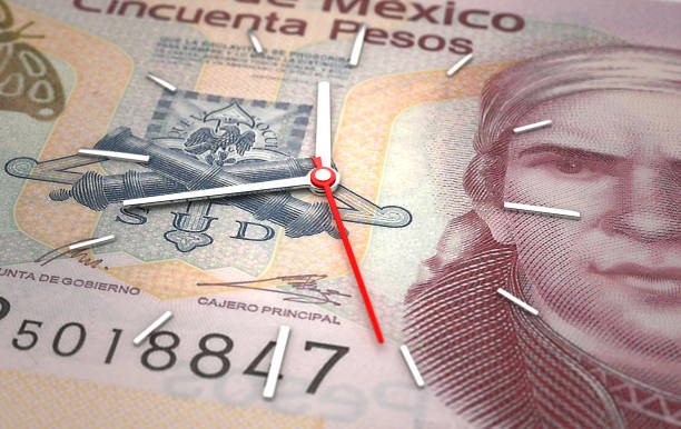 Time and Mexican Pesos stock photo