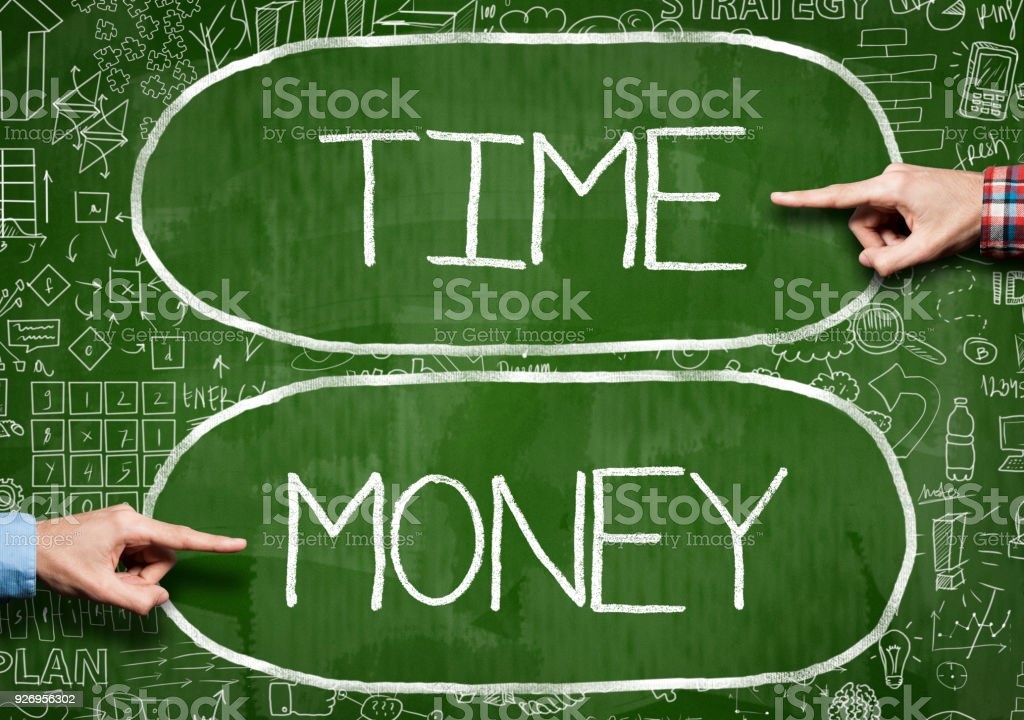 Time and MONEY / Green board concept (Click for more) stock photo