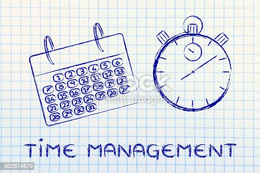istock time and project management for the global business, calendar and stopwatch 502814870