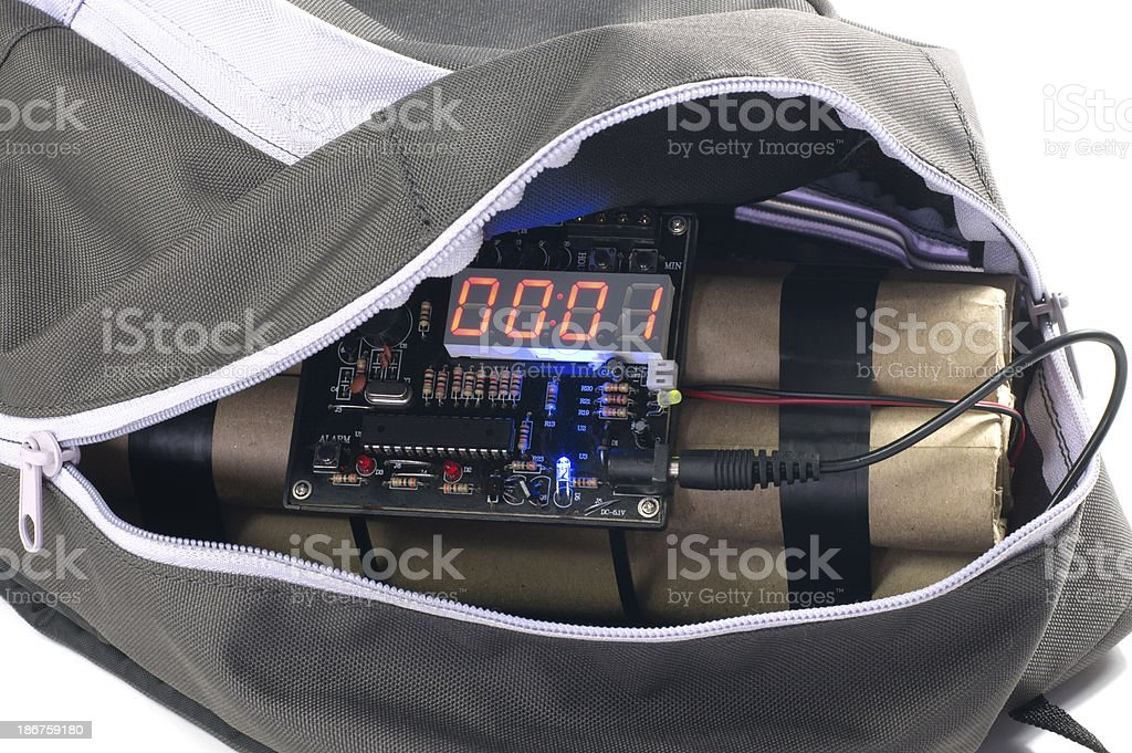 Time Bomb in Backpack royalty-free stock photo
