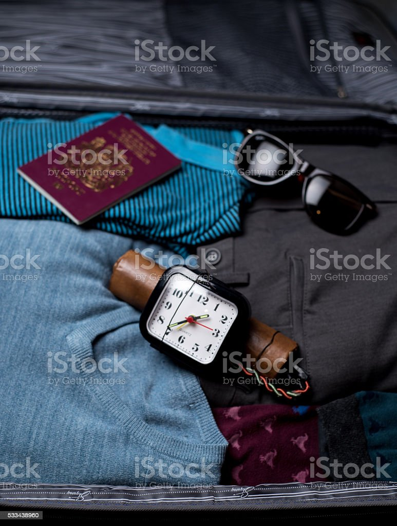 Time Bomb In Suitcase stock photo