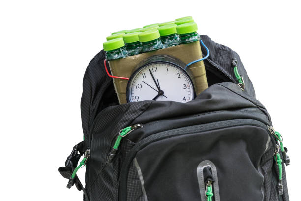 Time bomb in the backpack isolated on white background stock photo