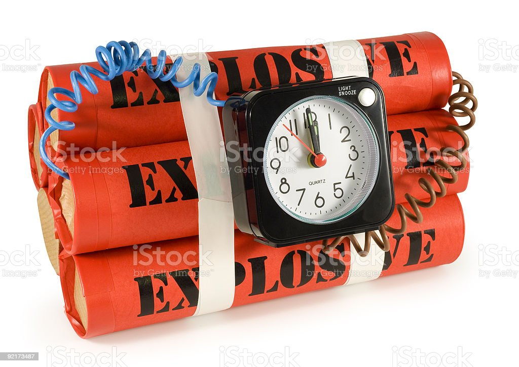A time bomb make of four dynamites royalty-free stock photo