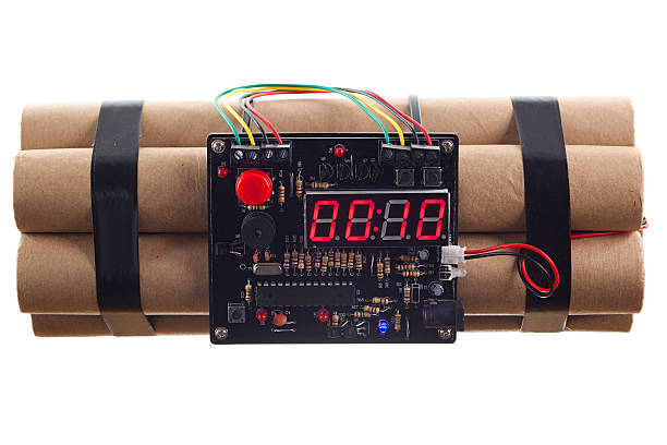 Time Bomb Dynamite with count down electronic time circuit. explosive stock pictures, royalty-free photos & images