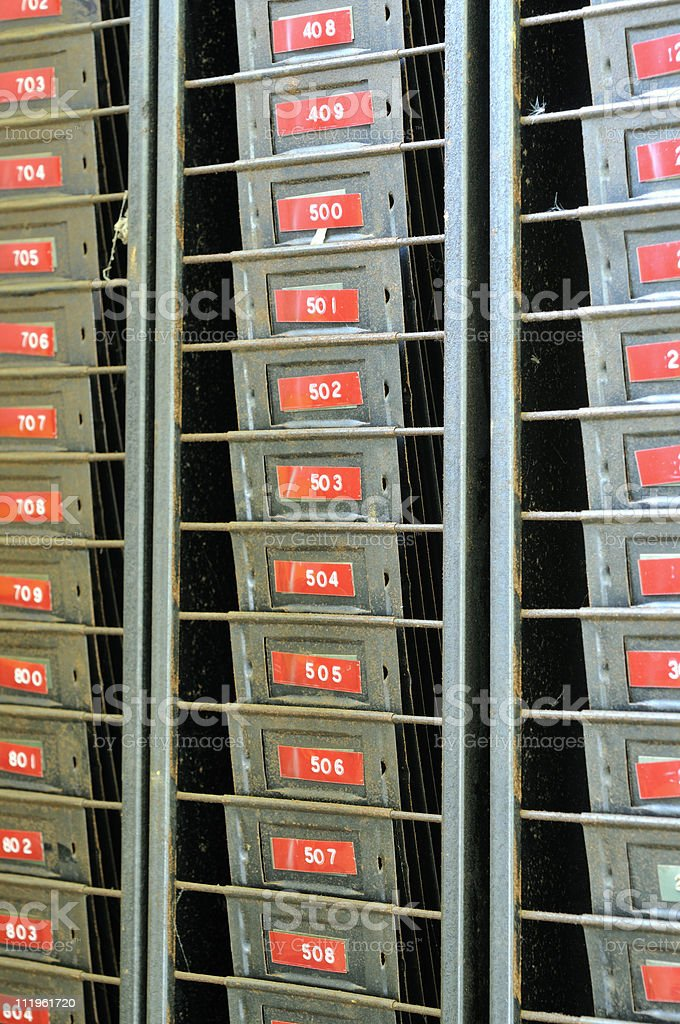 Time Card Rack royalty-free stock photo
