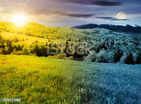 1074120624 istock photo time change above countryside in springtime 1074121668