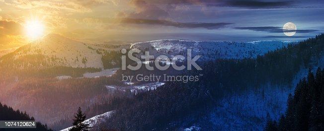 istock time change above panorama of mountain ridge 1074120624