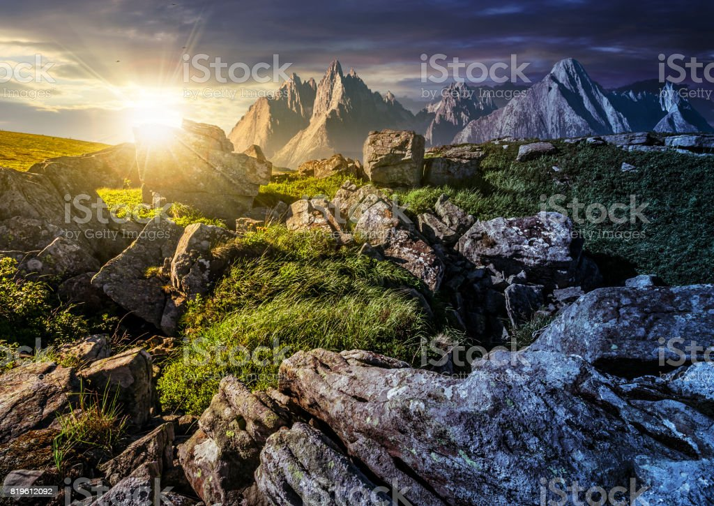 time change concept. rocky peaks and rocks on hillside in High Tatras stock photo