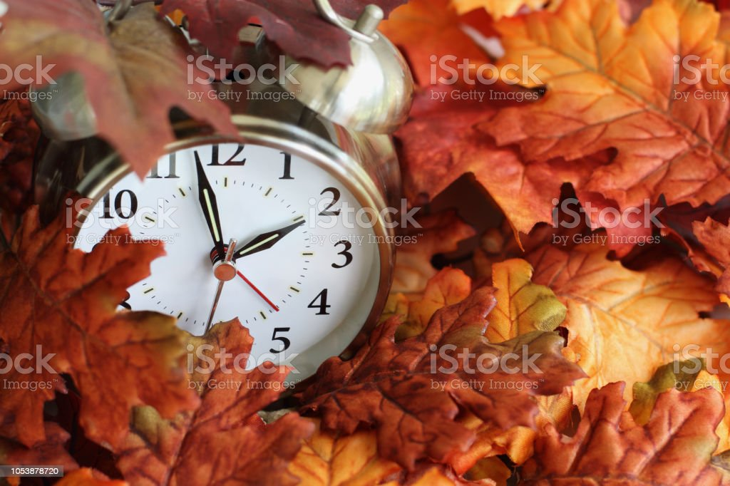 Time Change Daylight Savings Buried in Autumn Leaves stock photo