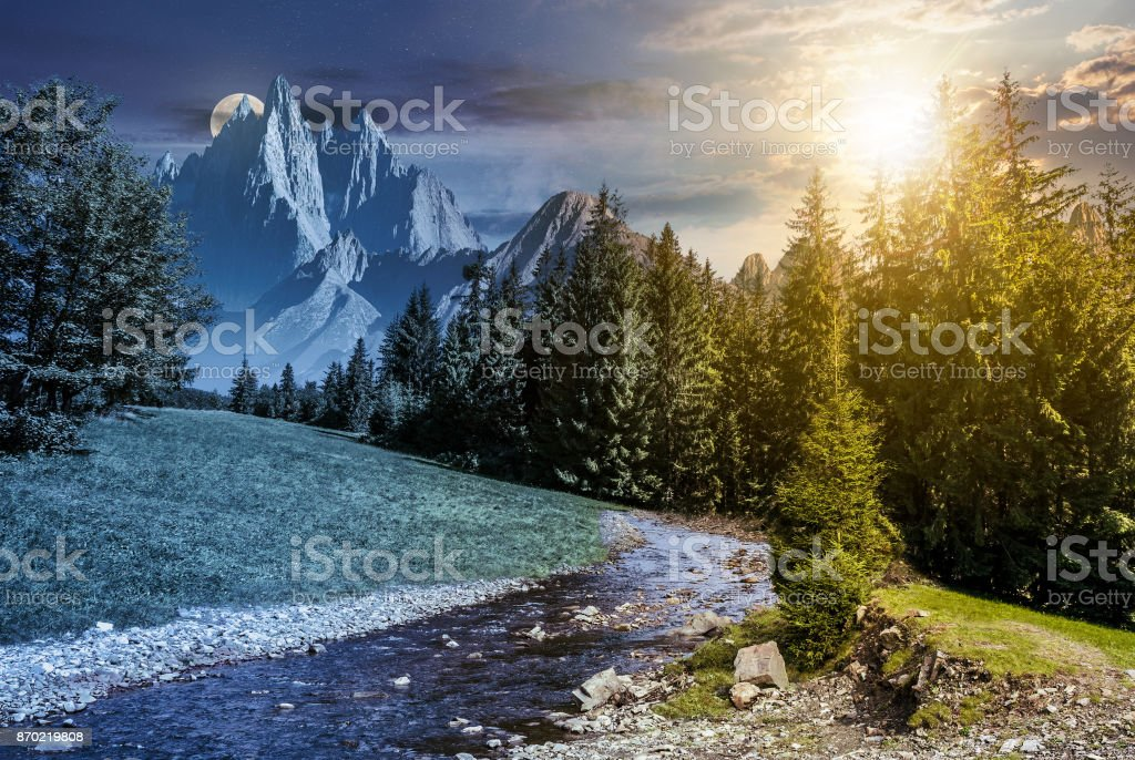 time change in mountainous summer landscape stock photo