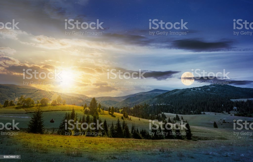 time change over the countryside summer landscape stock photo