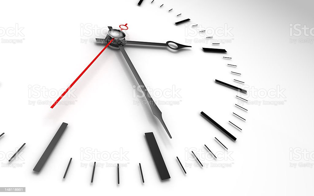 time clock closeup on whte stock photo