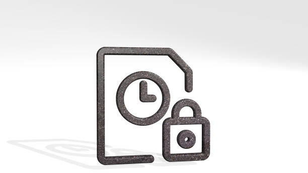 time clock file lock casting shadow with two lights. 3D illustration of metallic sculpture over a white background with mild texture. alarm and concept time clock file lock made by 3D illustration of a shiny metallic sculpture casting shadow on light background descry stock pictures, royalty-free photos & images