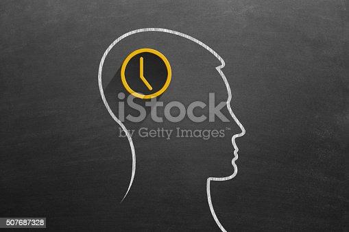 istock Time clock in human head on blackboard 507687328