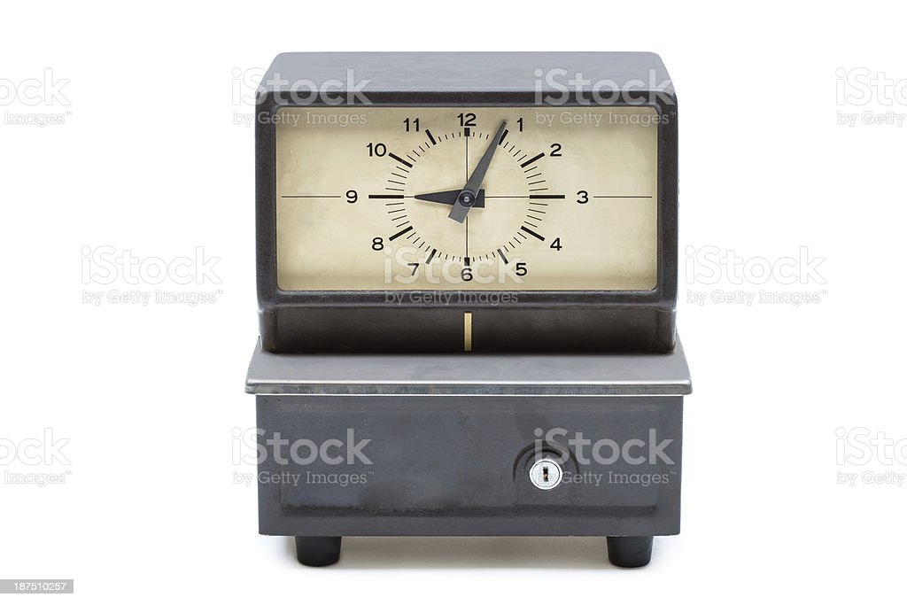 Time clock late for work stock photo