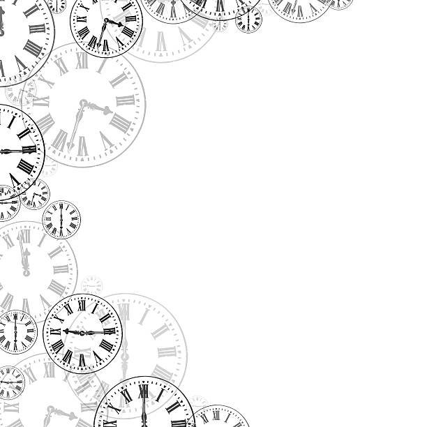 time clocks black & white background border - watch timepiece stock photos and pictures