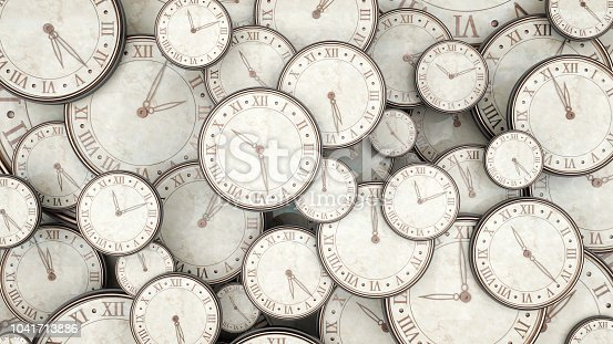 istock Time concept, bunch of watches 3d render 1041713886