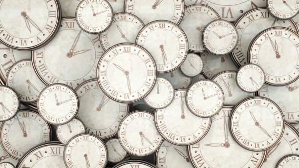 zaman kavramı, demet 3d render izliyor. - timeline stok fotoğraflar ve resimler