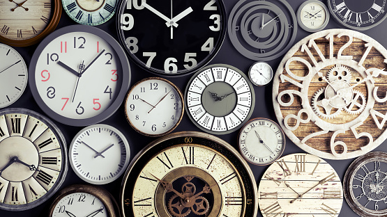 Time concept, bunch of watches 3d render