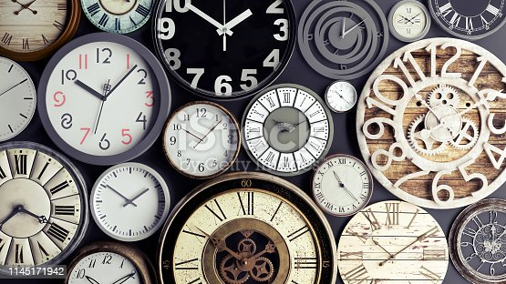 istock Time concept, bunch of watches 3d render 1145171942